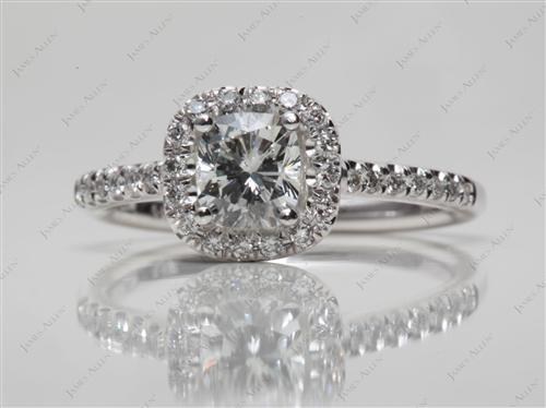 White Gold 0.69 Cushion cut Diamond Rings