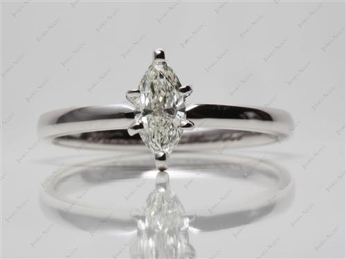 White Gold 0.51 Marquise cut Solitaire Diamond Ring