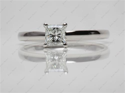 Platinum 0.60 Princess cut Diamond Engagement Solitaire Rings