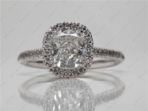 Platinum 1.41 Cushion cut Engagement Ring Micro Pave