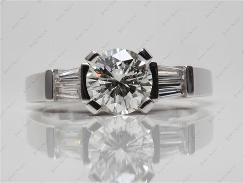 White Gold 1.50 Round cut Diamond Rings