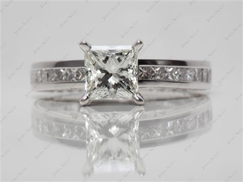 White Gold 1.23 Princess cut Channel Set Rings