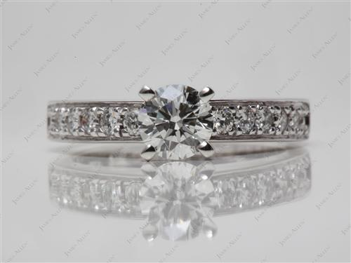 White Gold 0.72 Round cut Diamond Rings