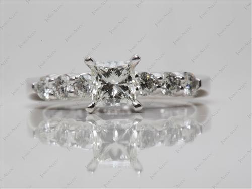 Platinum 0.61 Princess cut Side Stone Engagement Ring