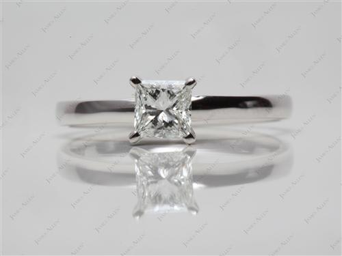 White Gold 0.52 Princess cut Solitaire Engagement Rings