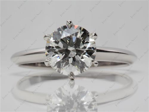 Platinum 2.12 Round cut Diamond Engagement Solitaire Rings