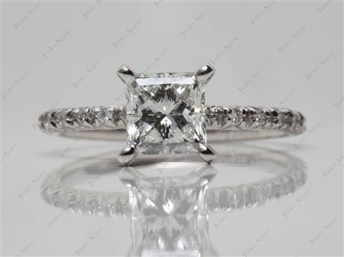 Platinum 1.07 Princess cut Engagement Rings Pave