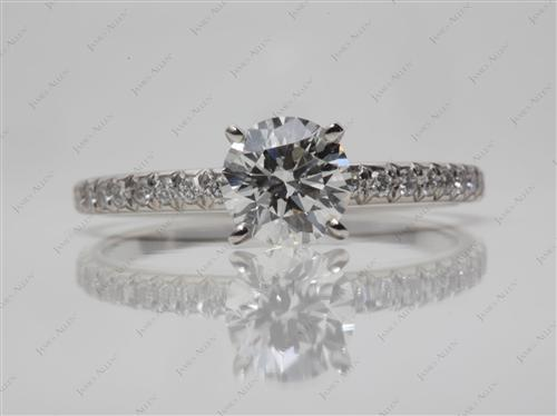 Platinum 0.91 Round cut Pave Ring Settings