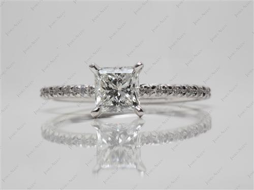 White Gold 0.82 Princess cut Engagement Rings Pave