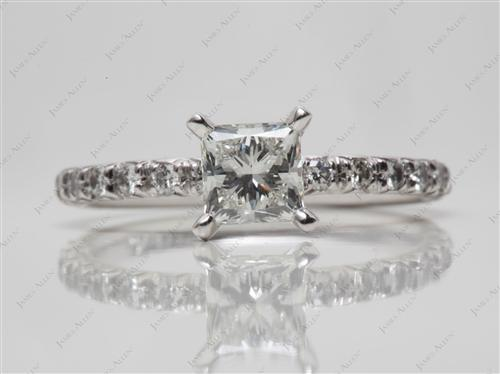 Platinum 0.91 Princess cut Pave Diamond Engagement Ring