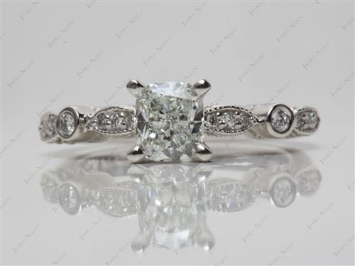 Platinum 0.84 Cushion cut Sidestone Engagement Ring