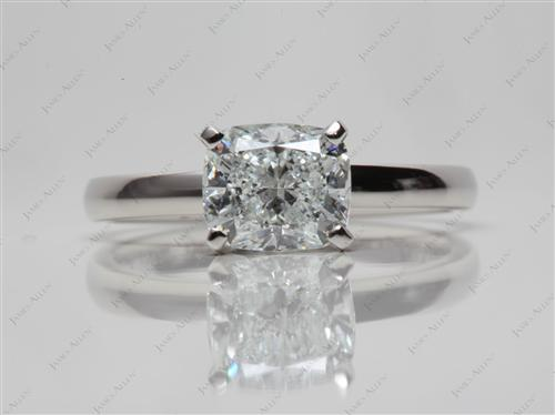Platinum 1.30 Cushion cut Diamond Rings