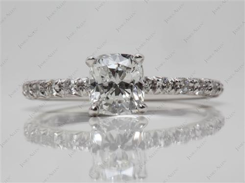 White Gold 1.04 Cushion cut Pave Ring Setting