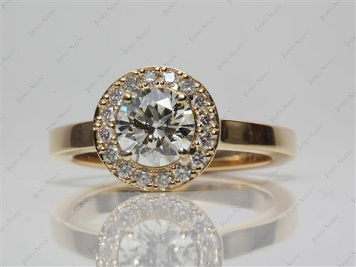 Gold 0.75 Round cut Pave Diamond Engagement Rings