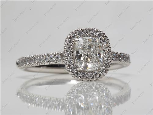Platinum 0.75 Cushion cut Pave Engagement Ring