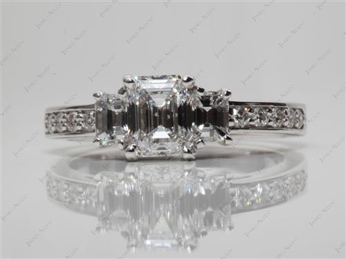 White Gold 1.01 Emerald cut Three Stones Settings