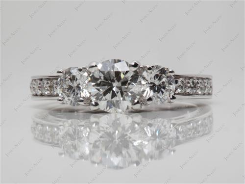 White Gold 0.71 Round cut Three Stones Ring