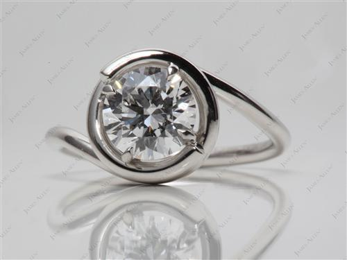 Platinum 1.30 Round cut Micro Pave Diamond Engagement Rings