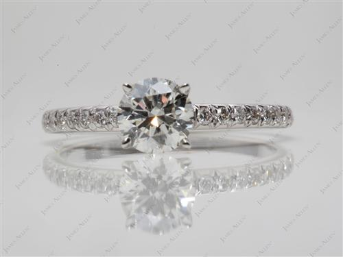 White Gold 0.70 Round cut Diamond Pave Rings