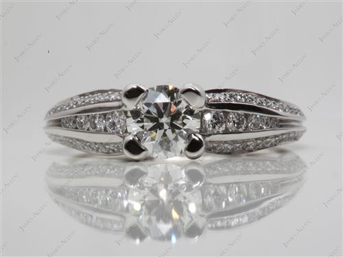 Platinum 0.71 Round cut Pave Diamond Engagement Rings