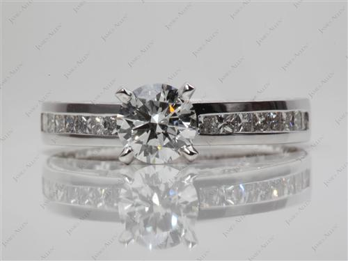White Gold 0.78 Round cut Channel Setting Engagement Rings