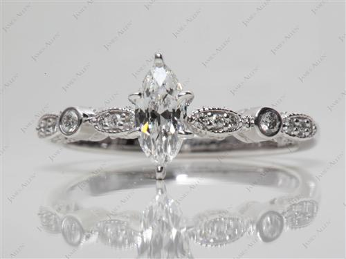 White Gold 0.50 Marquise cut Princess Cut Engagement Rings With Side Stones