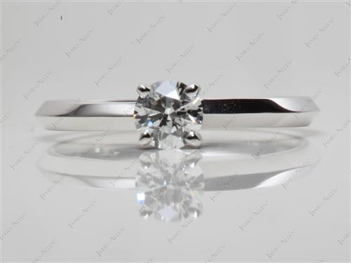White Gold 0.38 Round cut Diamond Engagement Solitaire Rings