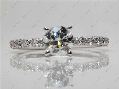 White Gold 0.81 Round cut Engagement Ring Micro Pave