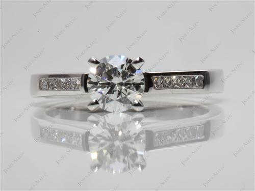 White Gold 0.72 Round cut Channel Setting Engagement Rings