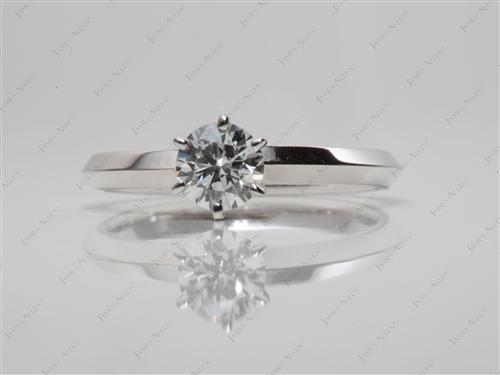 White Gold 0.37 Round cut Solitaire Engagement Rings