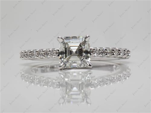 White Gold 0.90 Asscher cut Engagement Ring With Sidestones