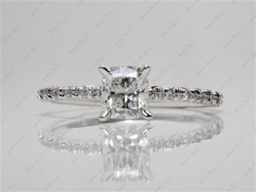 White Gold 0.70 Cushion cut Pave Diamond Ring