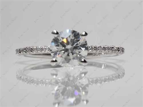 White Gold 1.56 Round cut Diamond Pave Rings