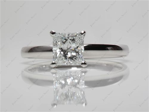 Platinum 1.00 Princess cut Engagement Ring