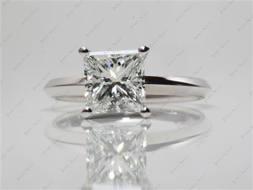 Platinum 1.56 Princess cut Diamond Solitaire Ring Settings