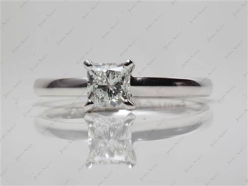 White Gold 0.74 Princess cut Solitaire Ring