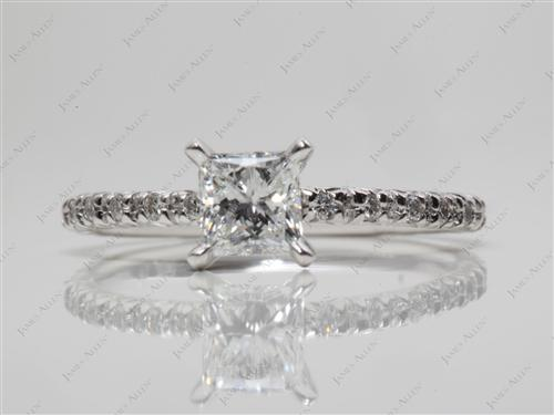 White Gold 0.52 Princess cut Diamond Pave Ring