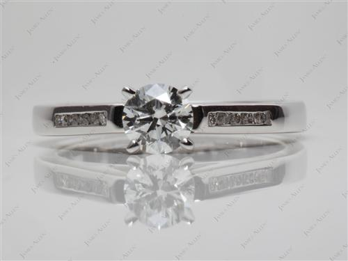 White Gold 0.50 Round cut Channel Diamond Ring