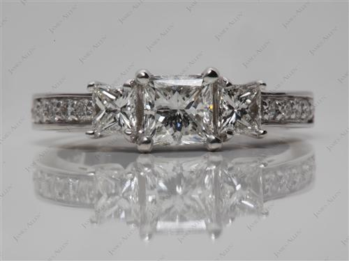 White Gold 0.71 Princess cut Three Stones Ring