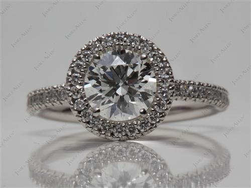 Platinum 1.13 Round cut Pave Engagement Ring