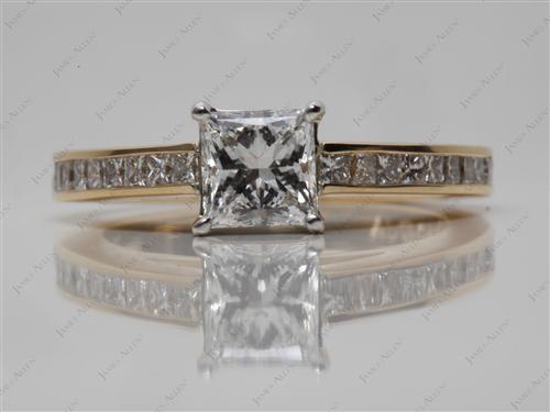 Gold 0.90 Princess cut Channel Set Diamond Ring