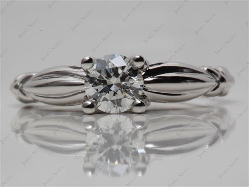 Platinum 0.70 Round cut Solitaire Diamond Rings