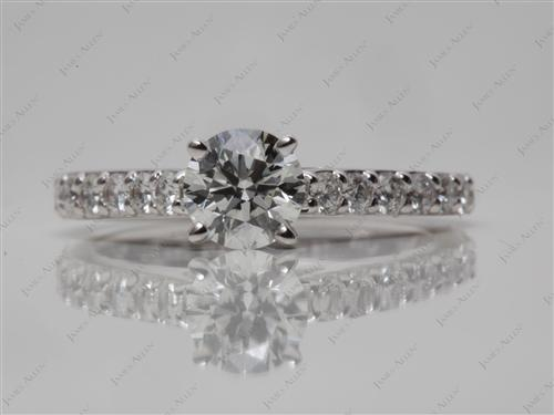 White Gold 0.60 Round cut Diamond Ring With Sidestones