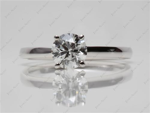 White Gold 0.82 Round cut Solitaire Ring Mountings