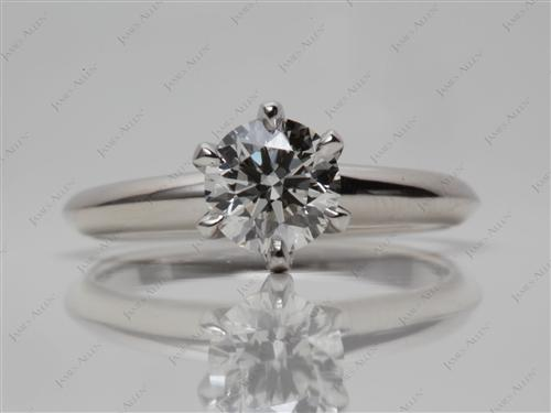 Platinum 0.73 Round cut Solitaire Engagement Rings