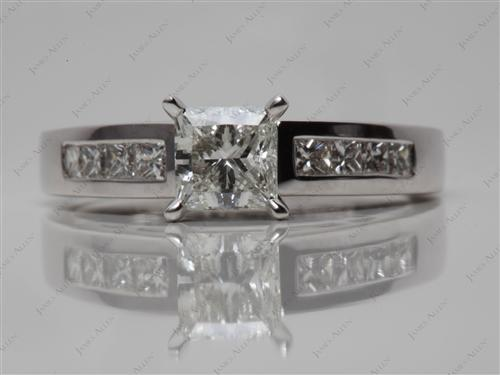White Gold 0.77 Princess cut Channel Engagement Rings