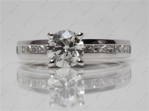 Platinum 1.15 Round cut Diamond Channel Ring
