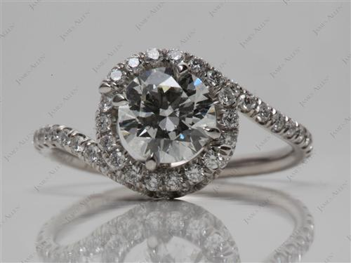 Platinum 0.90 Round cut Micro Pave Engagement Rings