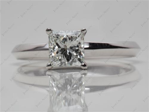 White Gold 1.00 Princess cut Solitaire Engagement Ring
