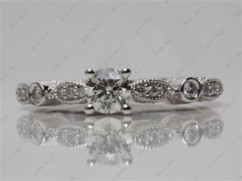 White Gold 0.33 Round cut Diamond Rings